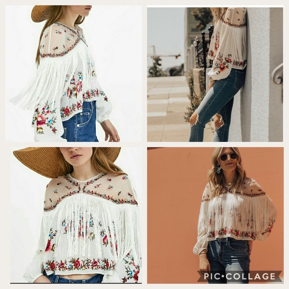 6e1325a15 Zara Woman Embroidered Fringe Top -Small- NWT